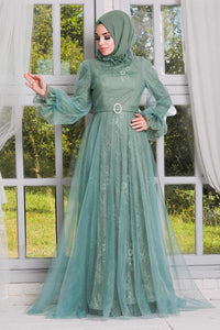 Women's Lace Embroidered Mint Green Modest Evening Dress