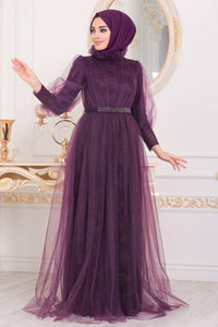 Women's Lace Detail Damson Modest Evening Dress