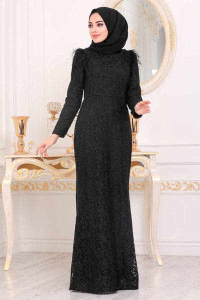 Women's Lace Embroidered Black Evening Dress