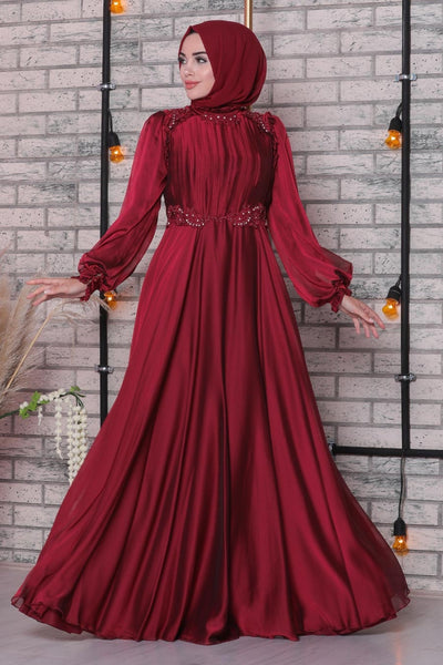 Women's Lace Detail Claret Red Modest Evening Dress