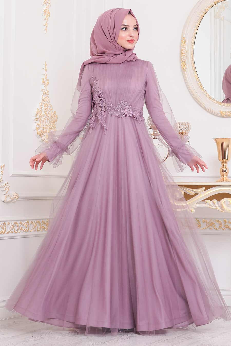 Women's Lace Detail Lilac Tulle Modest Evening Dress