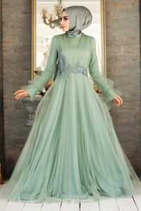 Women's Lace Detail Mint Green Modest Evening Dress