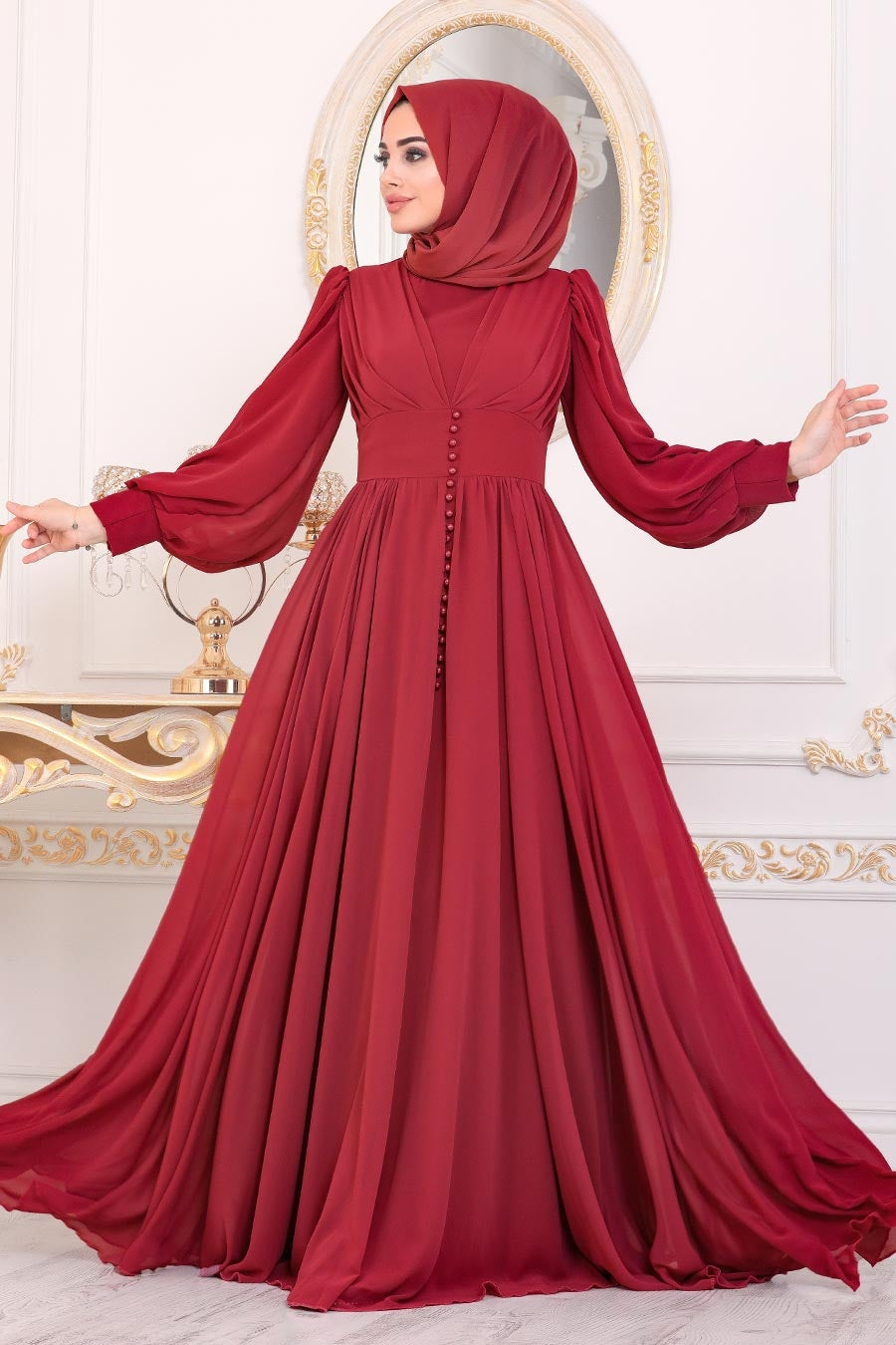 Women's Button Detail Claret Red Modest Evening Dress