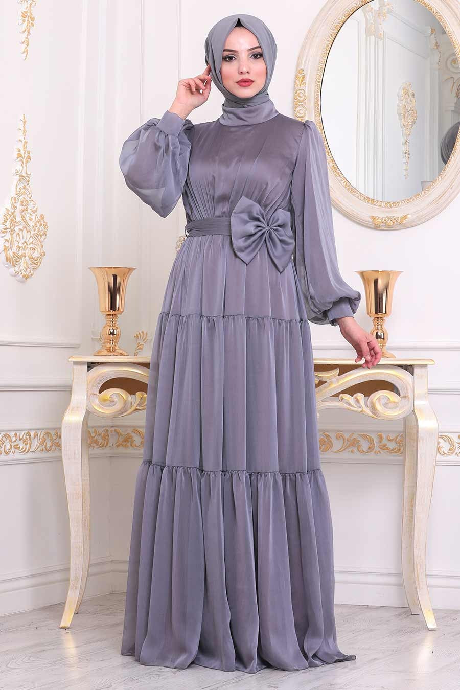 Women's Bow-tie Detail Lilac Modest Long Evening Dress
