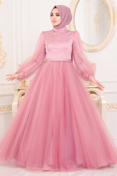 Women's Dusty Rose Modest Evening Dress