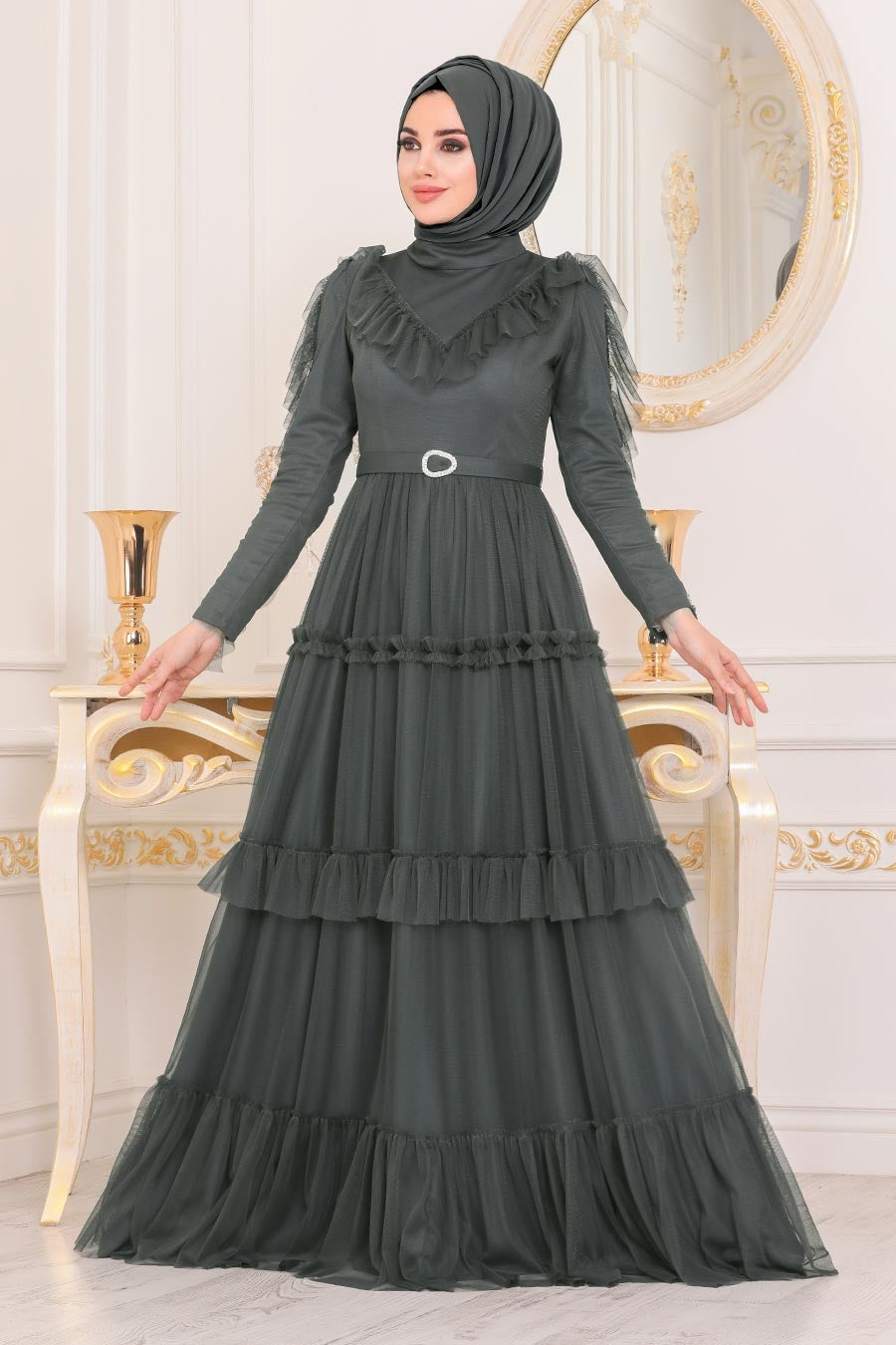 Women's Belted Anthracite Modest Evening Dress
