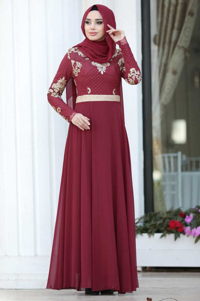 Women's Sequin Top Claret Red Evening Dress