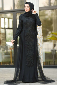 Women's Sequin Front Black Evening Dress