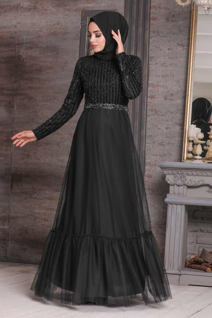 Women's Sequin Top Black Modest Evening Dress