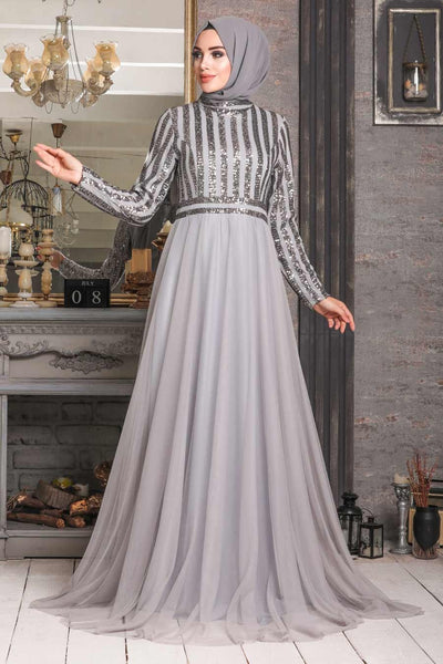 Women's Sequin Top Grey Modest Evening Dress