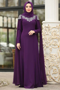 Women's Gemmed Top Purple Evening Dress