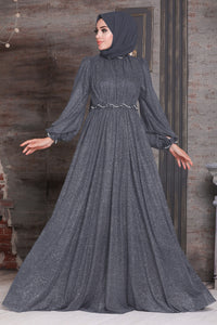 Women's Glitter Smoky Modest Evening Dress