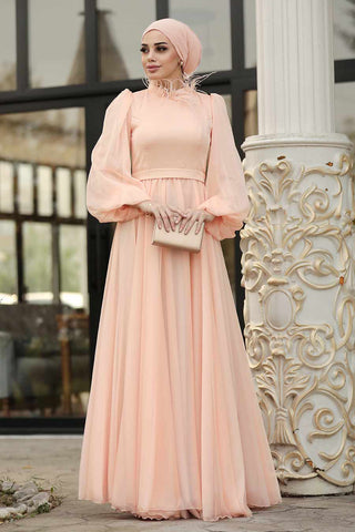 Women's Balloon Sleeve Salmon Modest Evening Dress