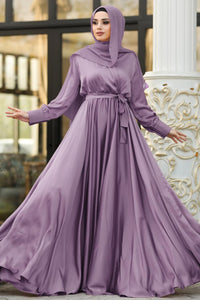 Women's V Neck Lilac Crepe Satin Modest Long Evening Dress