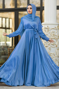 Women's V Neck Blue Crepe Satin Modest Evening Dress