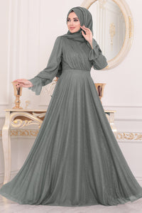 Women's Smoky Modest Evening Dress