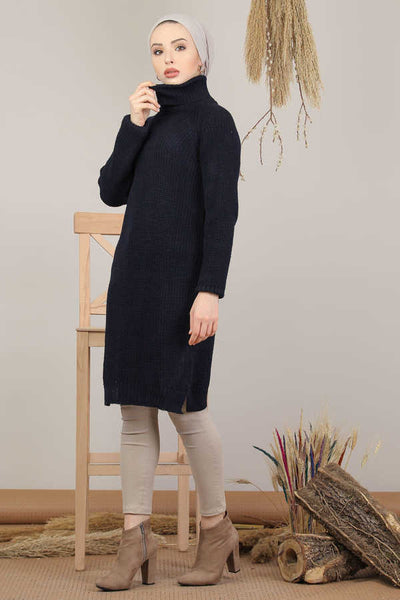 Women's Navy Blue Modest Tricot Tunic
