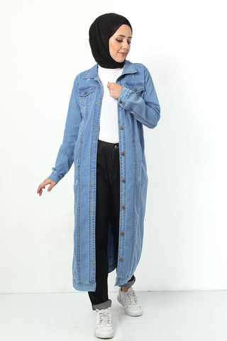 Women's Long Light Blue Modest Denim Jacket
