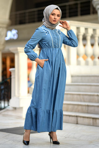 Women's Ruffle Light Blue Denim Long Dress