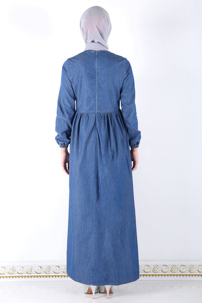 Women's Embroidered Collar Dark Blue Denim Long Dress