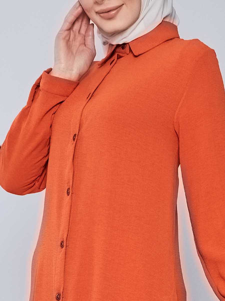 Women's Button Orange Modest Tunic