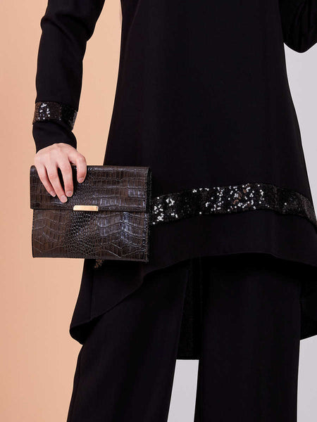 Women's Sequin Detail Black Modest Tunic & Pants Set