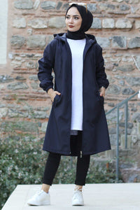 Women's Batwing Sleeves Navy Blue Trenchcoat