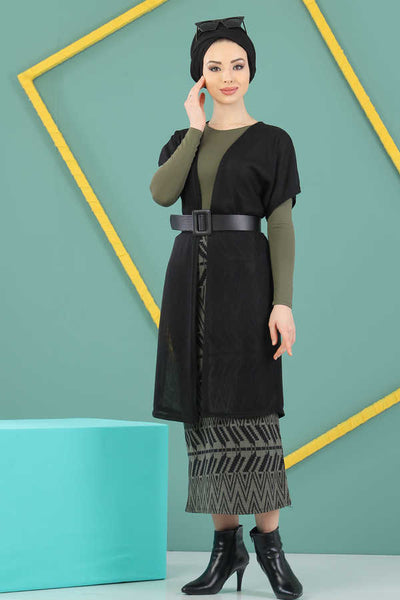 Women's Modest Black Vest & Patterned Khaki Midi Skirt Set