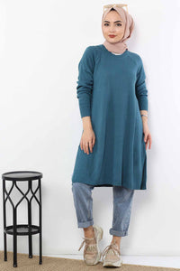 Women's Slit Hem Emerald Green Tricot Tunic