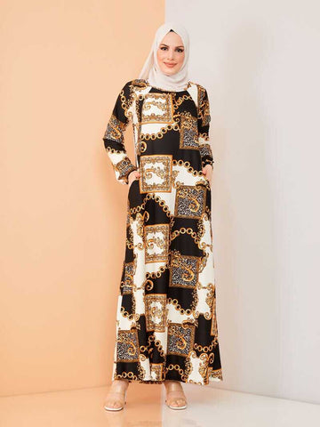 Women's Chain Pattern Black - Ecru Modest Long Dress