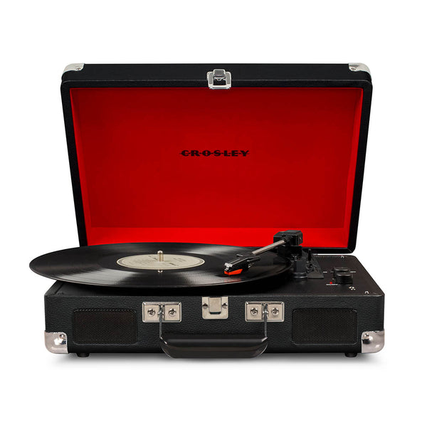 Crosley Cruiser Deluxe Portable Turntable - Black + Bundled Record Storage Crate