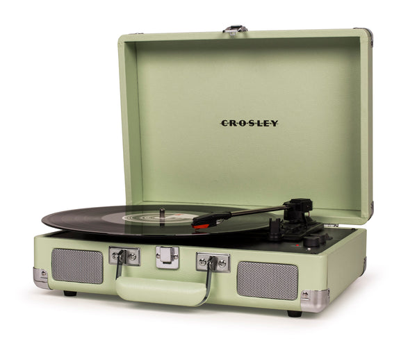 Crosley Cruiser Deluxe Portable Turntable - Mint + Bundled Record Storage Crate