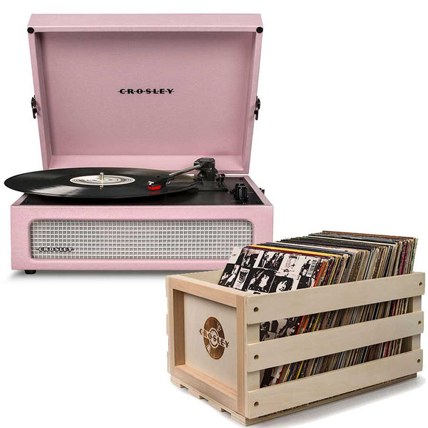 Crosley Voyager Portable Turntable - Amethyst + Bundled Record Storage Crate