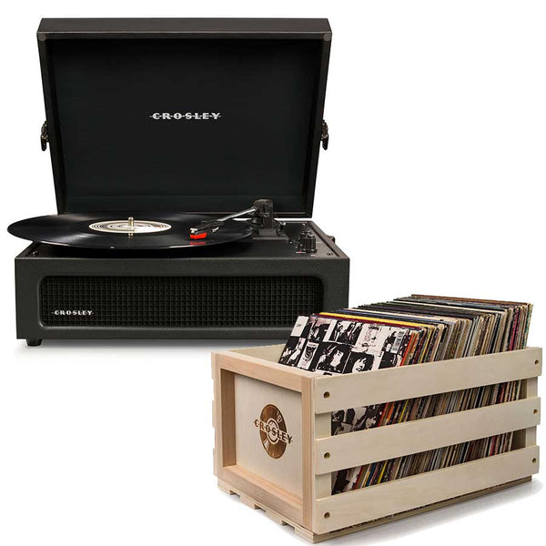 Crosley Voyager Portable Turntable - Black + Bundled Record Storage Crate