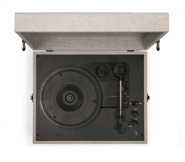 Crosley Voyager Portable Turntable - Grey + Bundled Record Storage Crate