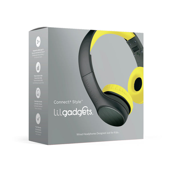 LilGadgets Connect+ Style Children's Wired Headphones - Black + Yellow