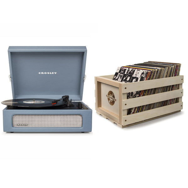 Crosley Voyager Portable Turntable - Washed Blue + Bundled Record Storage Crate