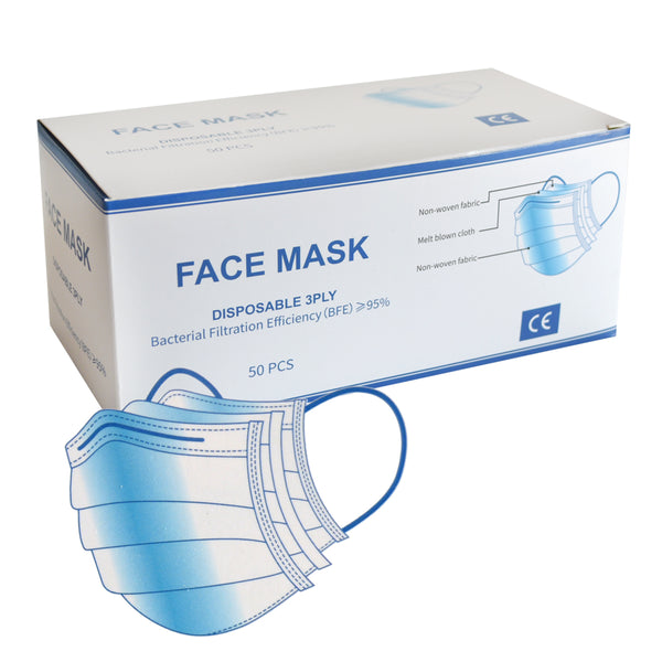 3 Ply Disposable Protective Face Masks 50-Pack