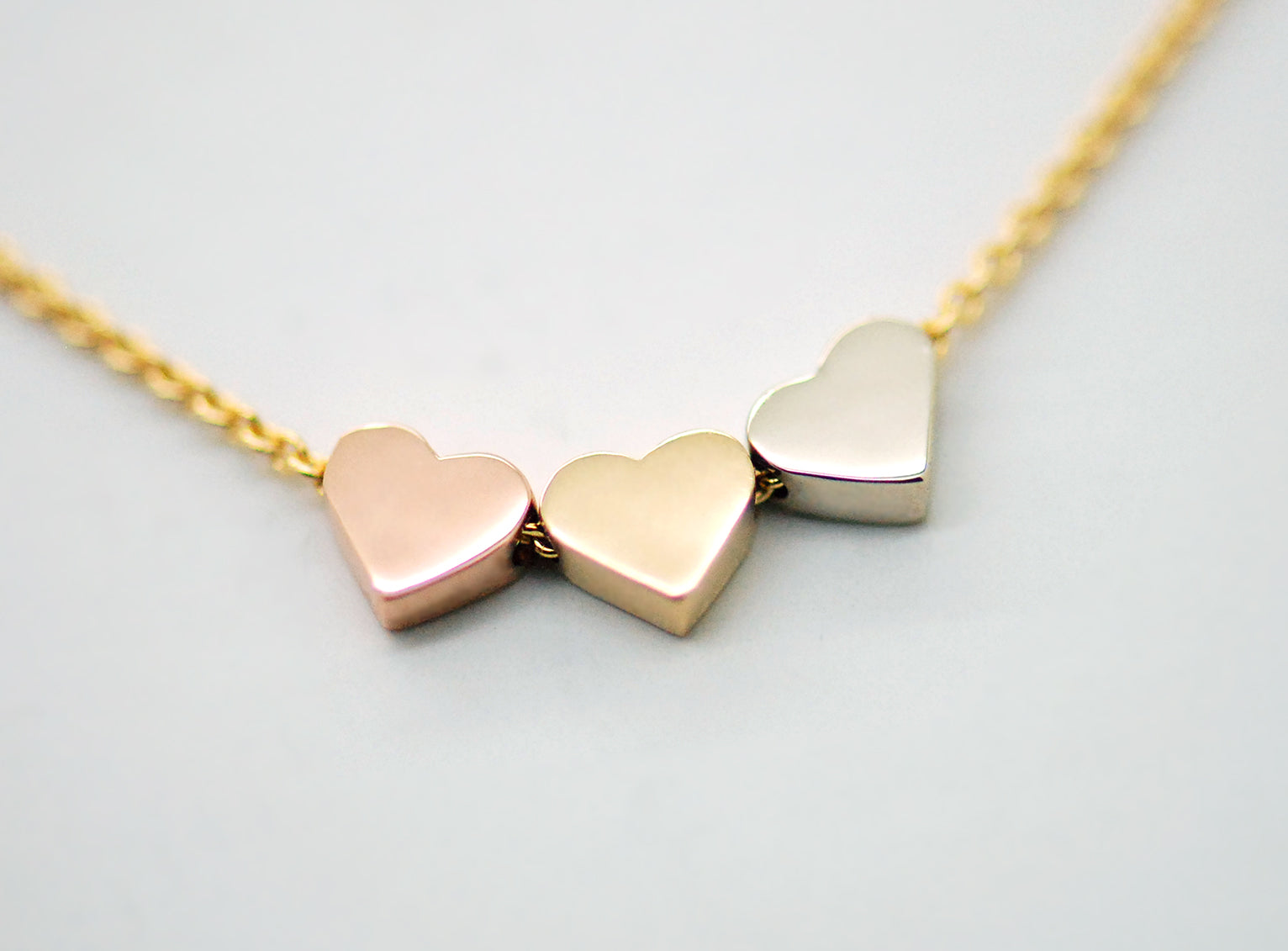 14k solid gold three hearts necklace yellow gold white gold rose gold necklace