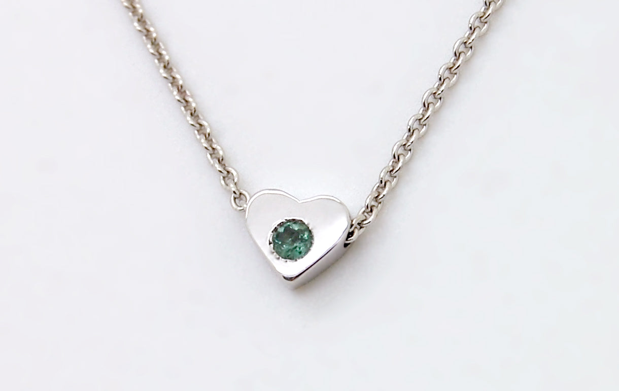 white gold heart necklace with alexandrite june birthstone