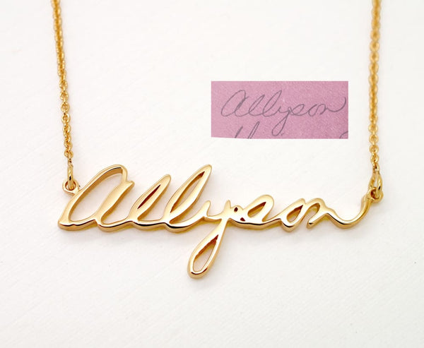 14K Gold Handwriting Necklace, pick yellow gold, rose gold, white gold - Fine Jewelry by Anastasia Savenko