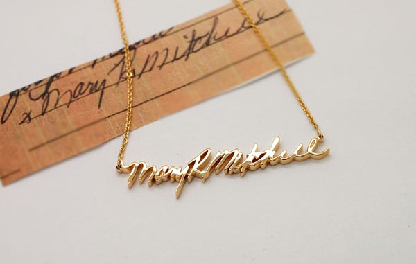 14K Gold Handwriting Necklace pick yellow gold rose gold white gold custom necklace