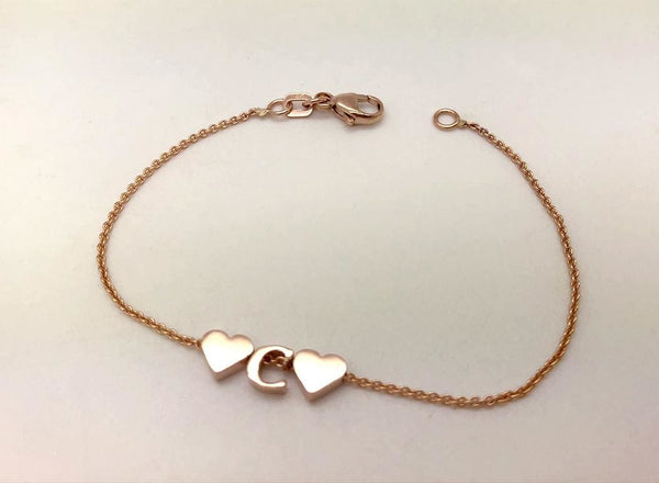 14K Gold Letter Bracelet add Tiny Initials Heart or Star - Solid Gold Charms custom bracelet
