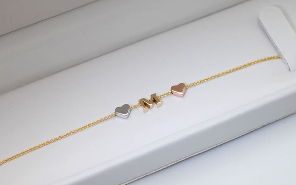 14K Gold Letter Bracelet add Tiny Initials, Heart or Star - Solid Gold Charms - Fine Jewelry by Anastasia Savenko