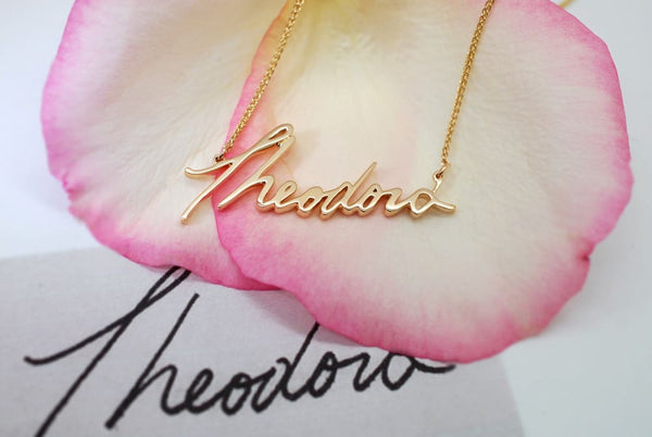 14K Gold Mama Necklace Handwriting Jewelry in Memory of Mom Remembrance Necklace Mothers Day Jewelry