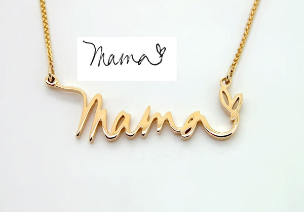 14K Gold Mama Necklace Handwriting Jewelry in Memory of Mom Remembrance Necklace Mothers Day Jewelry - Fine Jewelry by Anastasia Savenko