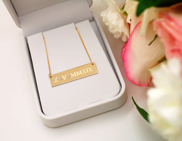 14K Solid Gold Bar Necklace with Birthstone: Custom Bar Necklace Mothers Day Gift for Her - Fine Jewelry by Anastasia Savenko
