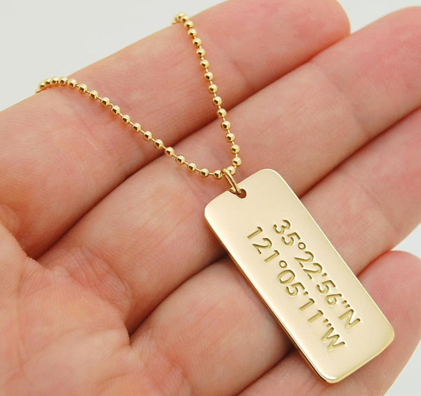 14K Solid Gold Dog Tag Custom Necklace for Men Anniversary Gift 14K Gold Mens Tag Necklace