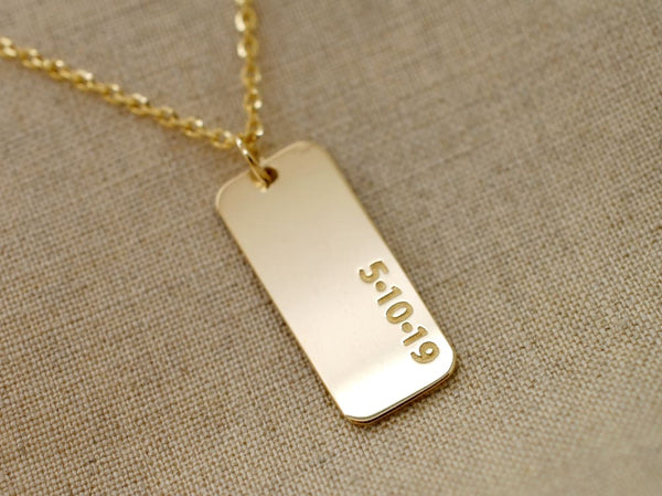 14K Solid Gold Dog Tag Custom Necklace for Men Anniversary Gift 14K Gold Mens Tag Necklace - Fine Jewelry by Anastasia Savenko