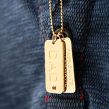 14K Solid Gold Dog Tag Custom Necklace for Men Anniversary Gift 14K Gold Mens Tag Necklace Jewelry